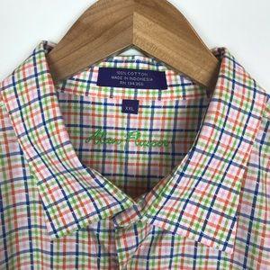 Alan Flusser Plaid Button Down Dress Shirt XXL